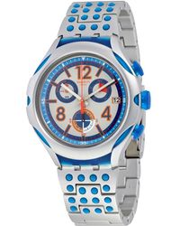 Swatch - 16 Dots Chronograph Grey And Blue Dial Aluminium Unisex Watch Yys4007ag - Lyst