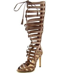 ebf692abd70 Vince Camuto - Olivian Women Open Toe Leather Brown Gladiator Sandal - Lyst