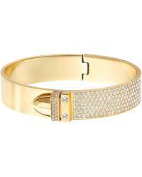 Swarovski - Gold-tone Pvd Crystal Pave Buckle Bangle Bracelet - Lyst