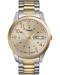 Timex - Watch, Men's Two-tone Brass Expansion Bracelet 36mm T2m935um - Lyst