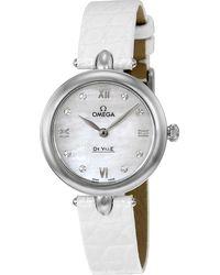 Omega - De Ville Prestige Mother Of Pearl Diamond Dial Leather Strap Ladies Watch 424.13.27.60.55.001 - Lyst