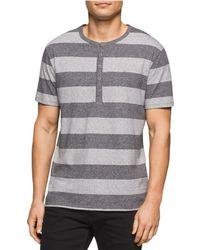 Calvin Klein | Striped Heathered Henley Shirt Greyheather M | Lyst