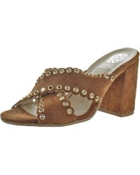 Vince Camuto - Maisy Suede Open Toe Criss-cross Trendy Heeled Sandals - Lyst