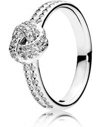 PANDORA - Sparkling Love Knot Clear Cz Ring - Lyst
