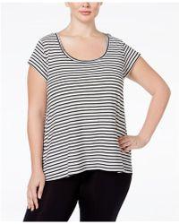 Calvin Klein - Womens Striped Hi-lo Graphic T-shirt Boo 1x - Lyst