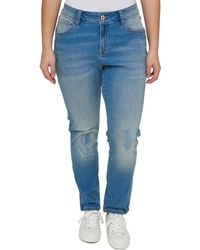 63c3928a966 Tommy Hilfiger - Plus Greenwich Distressed Straight Fit Straight Leg Jeans  - Lyst
