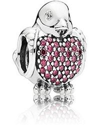 PANDORA - Red Robin Charm In 925 Sterling Silver - Lyst