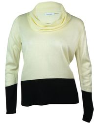 88558a18d9 Lyst - Calvin Klein Womens Cable Knit Detail Cowl Neck Pullover ...
