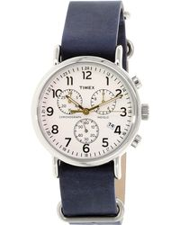 Timex - Weekender Tw2p62100 Silver Leather Analog Quartz Fashion Watch - Lyst