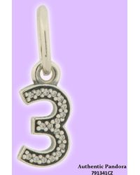 PANDORA - Number Three Dangle In 925 Sterling Silver W/cubic Zirconia - Lyst