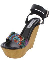 ad3e588bd82 Steve Madden - Bella Satin Open Toe Wedge Sandals - Lyst