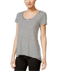 Calvin Klein - Womens Striped Cut-out Graphic T-shirt Boo M - Lyst