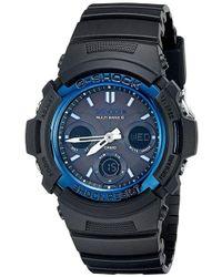 G-Shock - G-shock Chrono Ana-digi Solar Atomic 200m Black Resin Watch Awgm100a-1a - Lyst