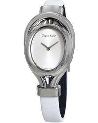 7675193044acb Calvin Klein - Belt White Dial Ladies Watch K5h231k6 - Lyst