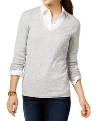 Tommy hilfiger Womens Pima Cotton V-neck Pullover Sweater in Gray ...