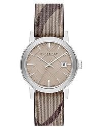 Burberry - Bu9118 'nova Check' Beige Fabric And Leather Watch - Lyst
