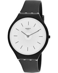 Swatch - Skinnoir Svub100 Black Silicone Quartz Fashion Watch - Lyst