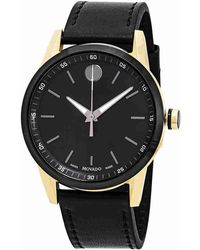 676101d02e704 Lyst - Movado Museum Black Dial Black Leather Watch 2100005 in Black ...