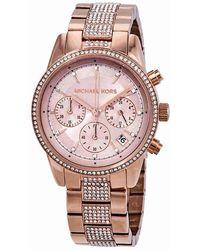 Michael Kors - Ritz Pave Chronograph Crystal Ladies Watch Mk6485 - Lyst