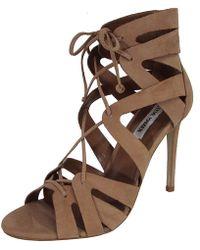 d5f53e7012b Lyst - Steve Madden Sassey Fringe Sandals in Natural