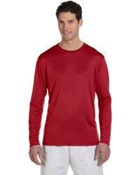 0b076d22 Champion T1397 5.2 Oz. Raglan T-shirt White/ Scarlet L in Red for ...