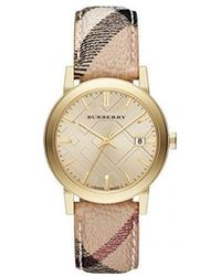 Burberry - The City Champagne Dial Haymarket Check Strap Unisex Watch Bu9026 - Lyst