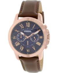 Fossil - Fs5068 Grant Leather Watch - Lyst