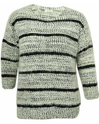 Calvin Klein - Striped Eyelash-knit Sweater (black - Lyst