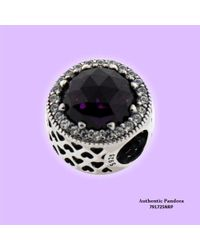 PANDORA - Royal Purple Radiant Heart Charm In 925 Sterling Silver - Lyst