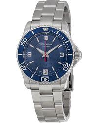 Victorinox - Swiss Army Maverick Mechanical Blue Dial Stainless Steel Ladies Watch 241709 - Lyst