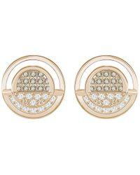 Swarovski - Hillock Round Pierced Earrings - White - Rose Gold Plating - 5351081 - Lyst