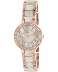 Fossil - Virginia Es3716 Rose Gold Stainless-steel Quartz Fashion Watch - Lyst