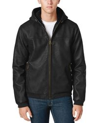 Levi's - Faux Leather Hoodie Sherpa Lined Bomber Jacket X-large Xl Black - Lyst