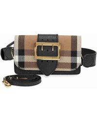 Lyst - Burberry Small Square Buckle Suede And Leather Shoulder Bag ... dcde1e43f0
