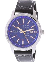 G-Shock - Enticer Mtpe128l-2a1v Leather Japanese Quartz Fashion Watch - Lyst