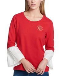 f59a278df Lyst - Tommy Hilfiger Women s Hallina Embroidered Scallop Collar ...