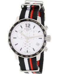 Tissot - Quickster Chronograph Silver Dial White And Red Nylon Sports Watch T0954171703701 - Lyst