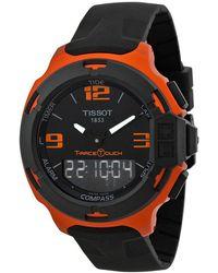 Tissot - T-race Touch Dial Orange Rubber Watch T0814209705703 - Lyst