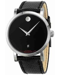 Movado - Museum Red Label Black Dial Black Leather Watch 0606114 - Lyst