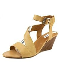 d5ff8323d20 Steve Madden - Stipend Open Toe Leather Wedge Sandal - Lyst
