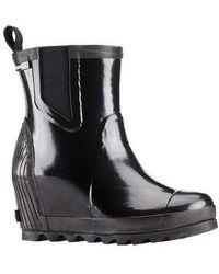 Sorel - Joan Rain Wedge Chelsea Gloss Boot - Lyst