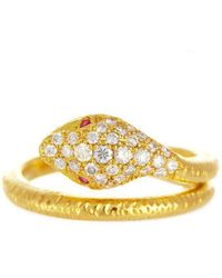 Alexis Danielle Jewelry - Yellow Gold Diamond Ruby Snake Ring - Lyst