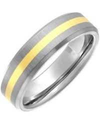 Star Wedding Rings - Titanium And 9kt Yellow Gold Inlay Flat Court Shape Matt Ring - Lyst