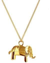 Origami Jewellery | Mini Elephant Necklace Gold | Lyst