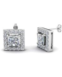 Diamoire Jewels Round And Princess Cut Earrings in 10Kt White Gold xmpxgQx
