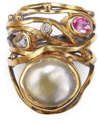 Bergsoe - Gold & South Sea Pearl Twisted Ring | - Lyst