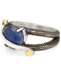 Lisa Robin - Ring Band With Oval Blue Sapphire - Lyst