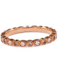 Katherine LeGrand Custom Goldsmith - Rose Gold & Diamond Petite Stacking Ring | Katherine Legrand - Lyst