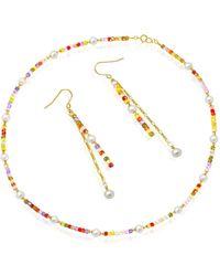 Regenz - 14kt Gold Flash Light Necklace & Earring Set - Lyst