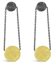 Vicky Davies - Oxidised Silver & 18kt Gold Dot Disc Earrings - Lyst